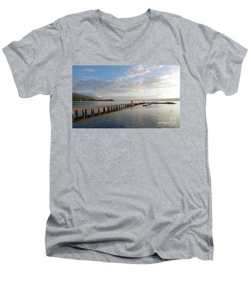 Evening - Lake Ohrid - Macedonia Men's V-Neck T-Shirt