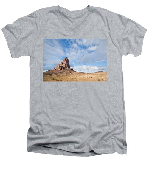 Evening Light On Agathla Peak Men's V-Neck T-Shirt