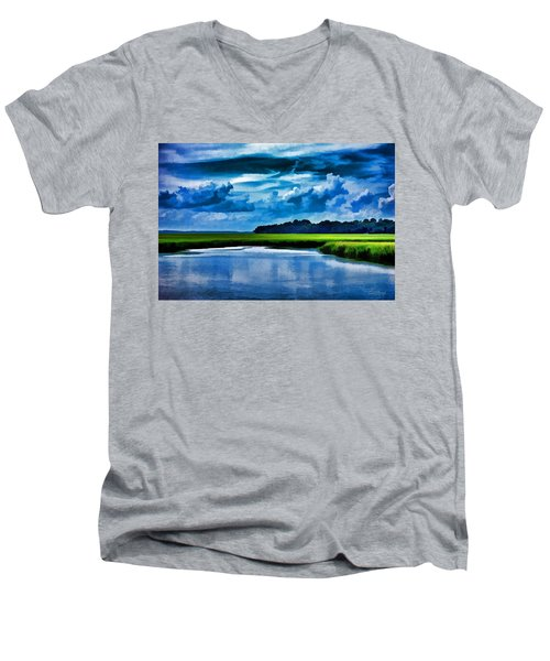 Evening On The Marsh Men's V-Neck T-Shirt