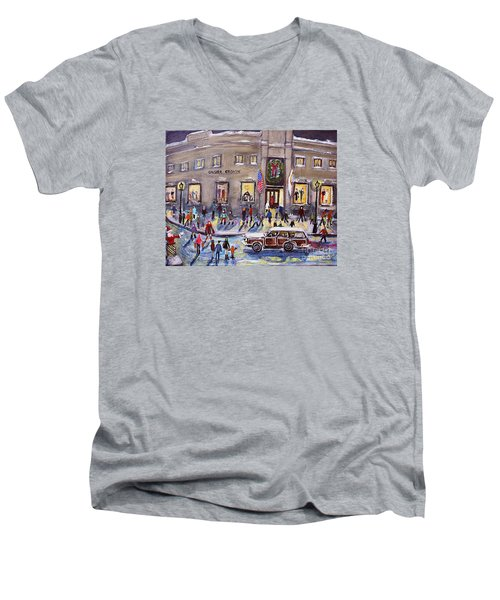 Evening Shopping At Grover Cronin Men's V-Neck T-Shirt by Rita Brown