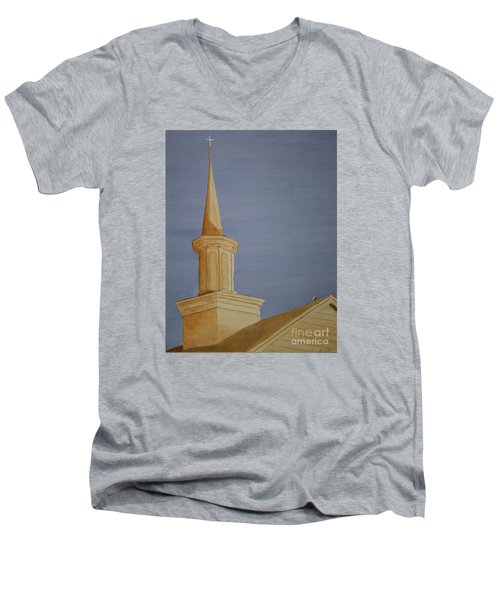 Men's V-Neck T-Shirt featuring the painting Evening Worship by Stacy C Bottoms