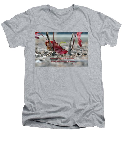 Men's V-Neck T-Shirt featuring the photograph Everlasting Words by Larry Bishop