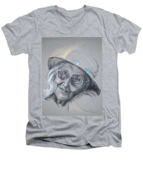 Men's V-Neck T-Shirt featuring the drawing Everybodys Grandma by Peter Suhocke
