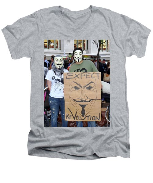 Men's V-Neck T-Shirt featuring the photograph Expect Revolution by Ed Weidman