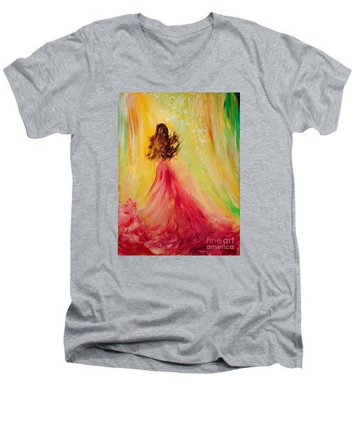 Men's V-Neck T-Shirt featuring the painting Expecting by Teresa Wegrzyn