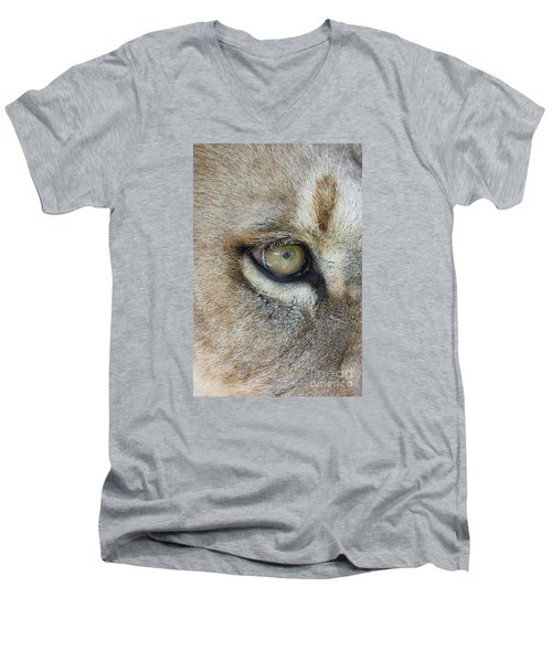 Men's V-Neck T-Shirt featuring the photograph Eye Of The Lion by Judy Whitton