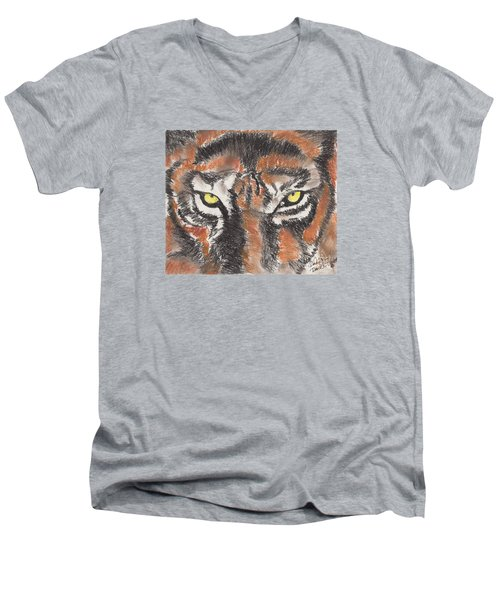 Men's V-Neck T-Shirt featuring the pastel Eye Of The Tiger by David Jackson