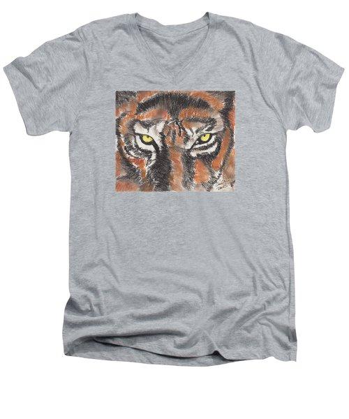 Eye Of The Tiger Men's V-Neck T-Shirt by David Jackson