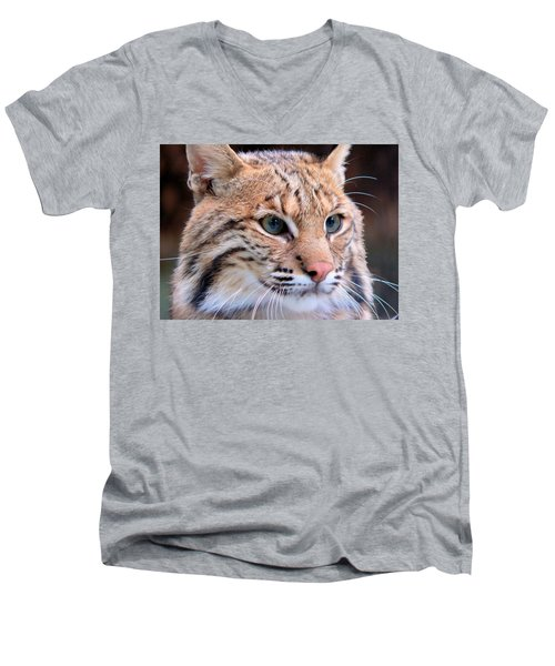 Men's V-Neck T-Shirt featuring the photograph Eyes Of A Lynx by Rosalie Scanlon