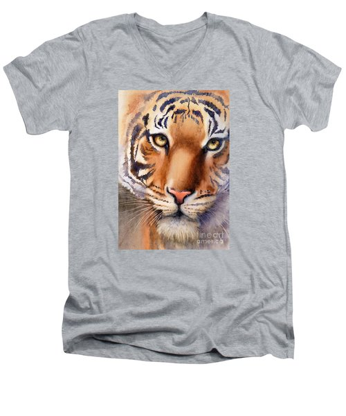 Men's V-Neck T-Shirt featuring the painting Eyes Of The Tiger by Bonnie Rinier