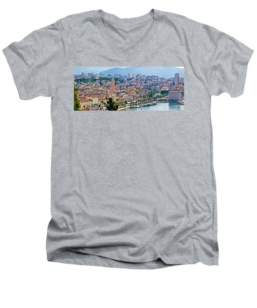 Fabulous Split Waterfront Aerial Panorama Men's V-Neck T-Shirt