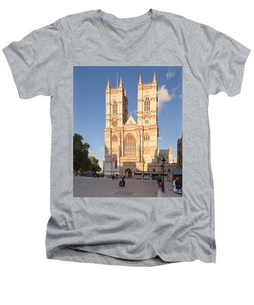 Facade Of A Cathedral, Westminster Men's V-Neck T-Shirt by Panoramic Images