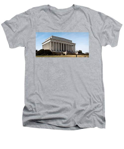 Facade Of The Lincoln Memorial, The Men's V-Neck T-Shirt by Panoramic Images