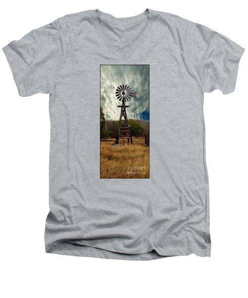 Face The Wind - Windmill Photography Art Men's V-Neck T-Shirt by Ella Kaye Dickey
