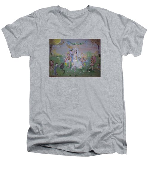 Fairy Wedding Men's V-Neck T-Shirt by Judith Desrosiers