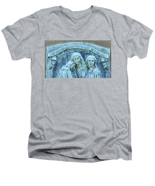 Men's V-Neck T-Shirt featuring the photograph Faith Hope Charity by Kathy Barney