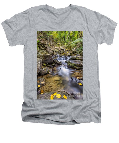 Fall Arrives At Amicalola Falls Men's V-Neck T-Shirt