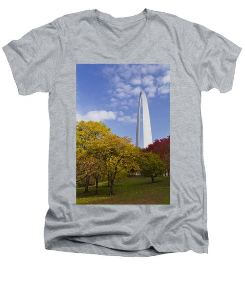 Fall At The St Louis Arch Men's V-Neck T-Shirt