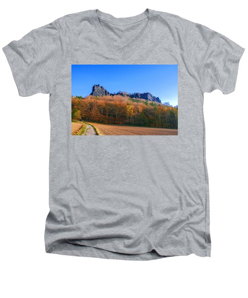 Fall Colors Around The Lilienstein Men's V-Neck T-Shirt