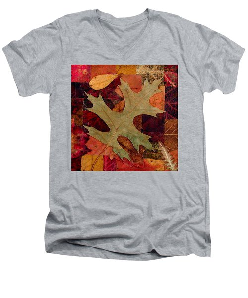Men's V-Neck T-Shirt featuring the mixed media Fall Leaf Collage by Anna Ruzsan