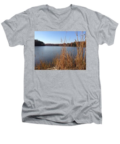 Men's V-Neck T-Shirt featuring the photograph Fall On The Creek by Charles Kraus