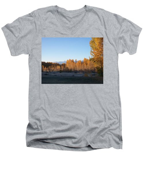 Men's V-Neck T-Shirt featuring the photograph Fall On The River by Jewel Hengen