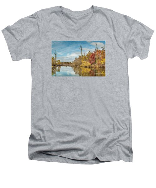 Men's V-Neck T-Shirt featuring the photograph Fall Pond by Debbie Green