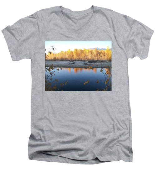 Men's V-Neck T-Shirt featuring the photograph Fall Reflection 2 by Jewel Hengen