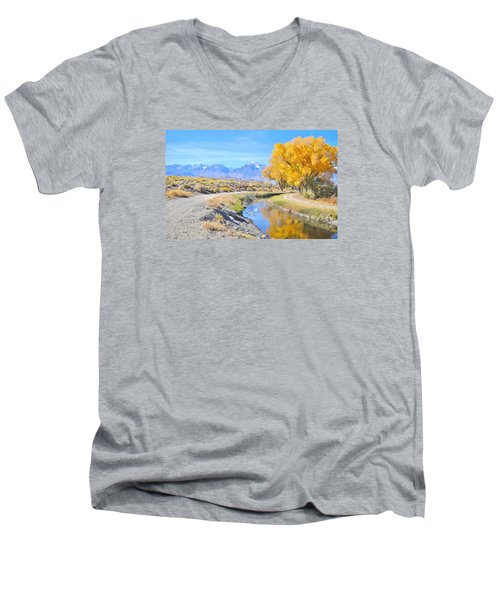 Men's V-Neck T-Shirt featuring the photograph Fall Reflections by Marilyn Diaz