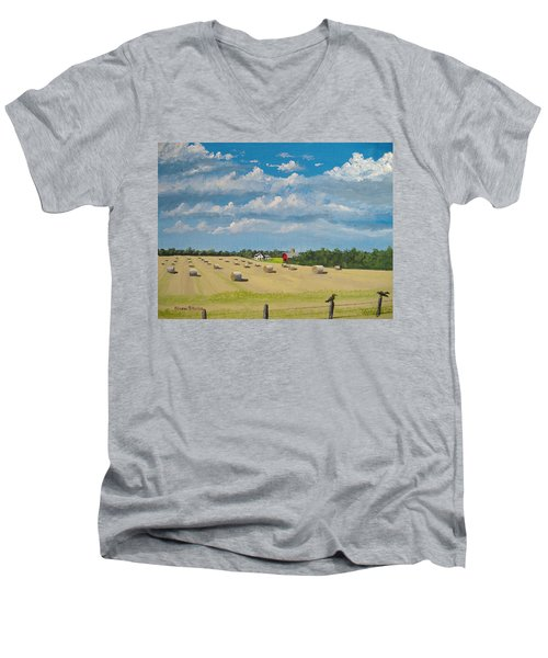Men's V-Neck T-Shirt featuring the painting Fall Rounds by Norm Starks