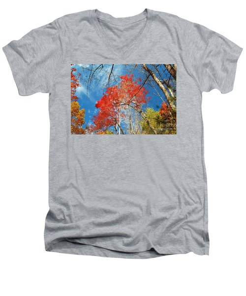 Fall Sky Men's V-Neck T-Shirt by Patrick Shupert