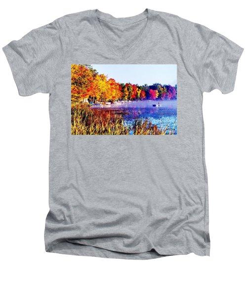 Men's V-Neck T-Shirt featuring the photograph Fall Splendor Of Mid-michigan by Daniel Thompson