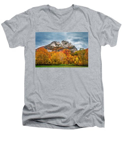 Fall Storm Seneca Rocks Men's V-Neck T-Shirt