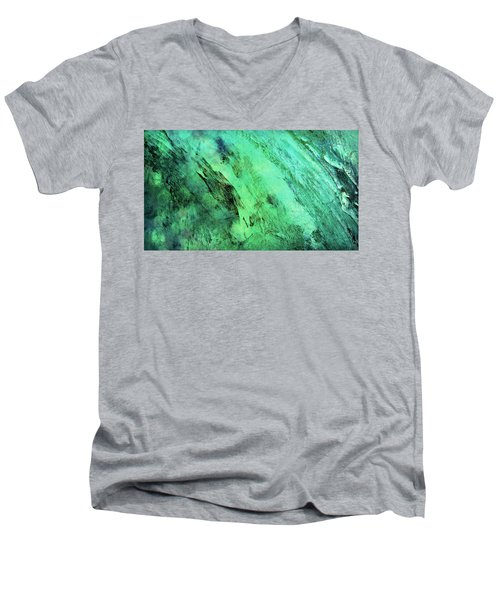 Men's V-Neck T-Shirt featuring the mixed media Fallen by Ally  White