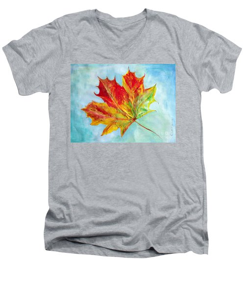 Falling Leaf - Painting Men's V-Neck T-Shirt