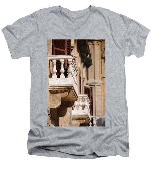 Famagusta Balconies Men's V-Neck T-Shirt by Jeremy Voisey