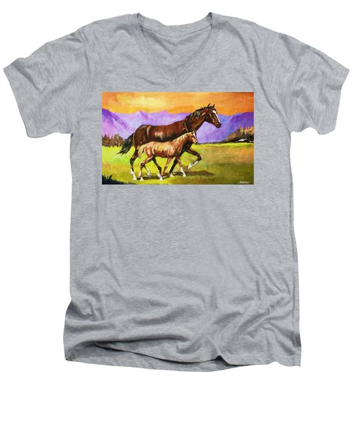 Men's V-Neck T-Shirt featuring the painting Family Stroll by Al Brown