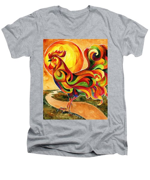 Fancy Feathers Rooster Men's V-Neck T-Shirt by Sherry Shipley