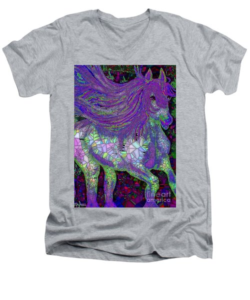 Fantasy Horse Purple Mosaic Men's V-Neck T-Shirt by Saundra Myles