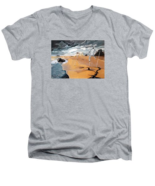 Men's V-Neck T-Shirt featuring the painting Faraway Lejanias by Lazaro Hurtado