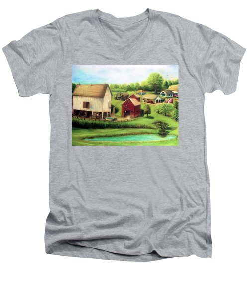Farm Men's V-Neck T-Shirt by Bernadette Krupa