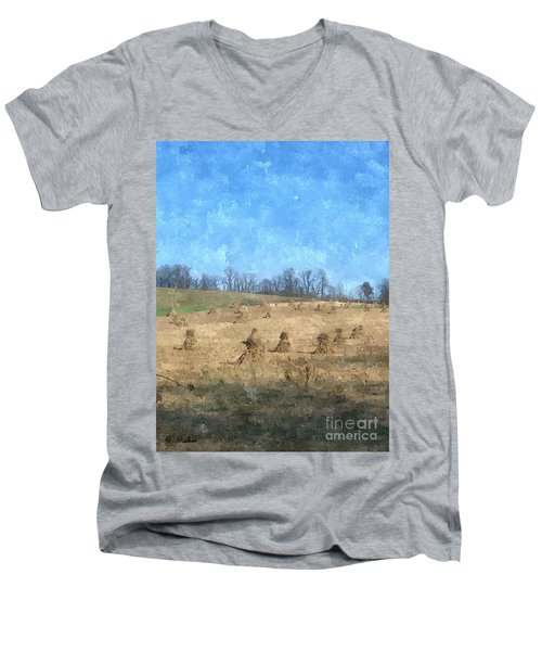 Men's V-Neck T-Shirt featuring the painting Farm Days 2 by Sara  Raber