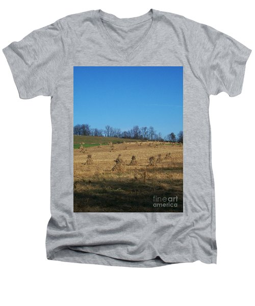 Men's V-Neck T-Shirt featuring the photograph Farm Days by Sara  Raber