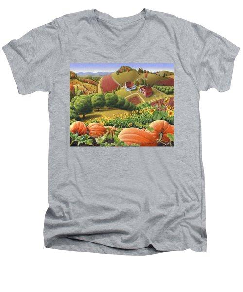 Farm Landscape - Autumn Rural Country Pumpkins Folk Art - Appalachian Americana - Fall Pumpkin Patch Men's V-Neck T-Shirt