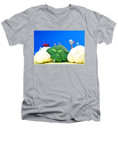 Farming On Broccoli And Cauliflower Men's V-Neck T-Shirt by Paul Ge