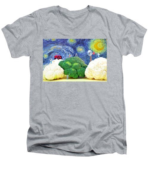 Farming On Broccoli And Cauliflower Under Starry Night Men's V-Neck T-Shirt by Paul Ge