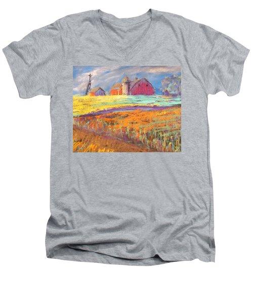Farmland Sunset Men's V-Neck T-Shirt by Terri Einer