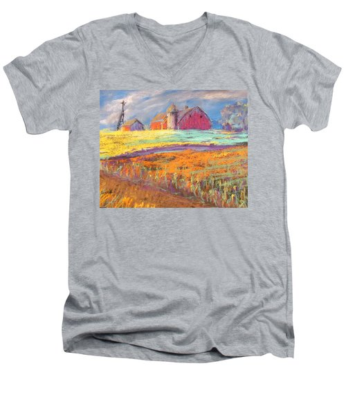 Farmland Sunset Men's V-Neck T-Shirt