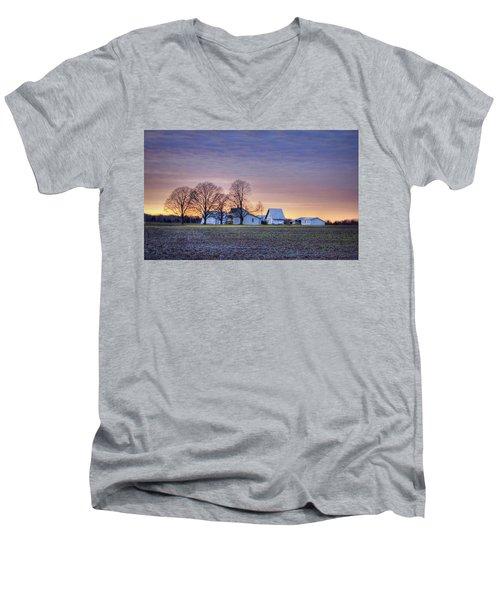 Farmstead At Sunset Men's V-Neck T-Shirt
