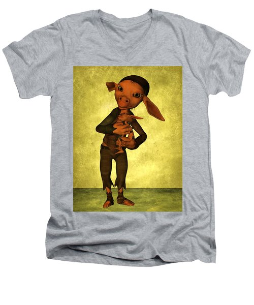 Men's V-Neck T-Shirt featuring the digital art Father And Son by Gabiw Art